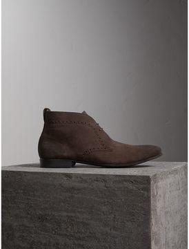 Burberry Brogue Detail Suede Desert Boots