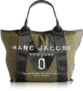 Marc Jacobs New Logo Army Green Cotton Tote - GREEN - STYLE