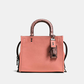 COACH ROGUE 25 IN PEBBLE LEATHER WITH COLORBLOCK SNAKE - BLACK COPPER/MELON