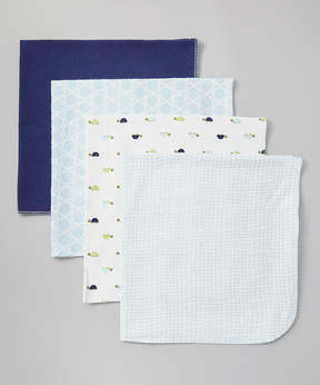 Luvable Friends 28'' x 28'' Blue Turtle Receiving Blanket Set