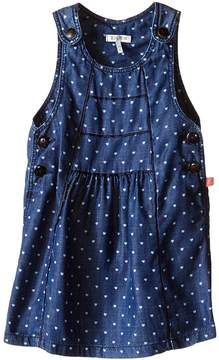 Ikks Chambray Denim Jumper Dress with Heart Print & Adjustable Straps (Infant/Toddler)
