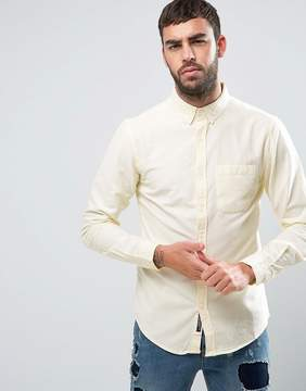 Pull&Bear Regular Fit Oxford Shirt In Lemon