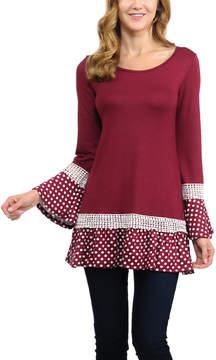 Celeste Burgundy Polka Dot Ruffle-Trim Long-Sleeve Tunic - Women