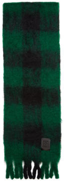 Loewe Green and Black Mohair Check Scarf