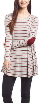 Celeste Gray & Red Stripe Elbow Patch Tunic - Women