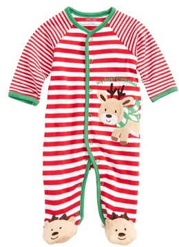 Little Me Infant Boy's Reindeer Stripe Footie