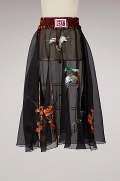 Stella Jean Silk printed ducks skirt