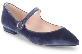 LK Bennett Velvet Mary Jane Point Toe Flats