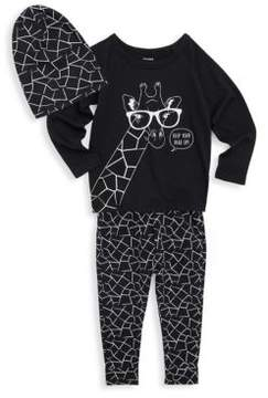Petit Lem Little Boy's Three-Piece Giraffe Hat Top & Pants Set