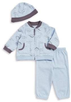 Little Me Baby Boy's Three-Piece Dino Jacket, Pants, and Beanie Set
