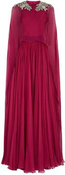 Red Embellished Silk Cape Gown
