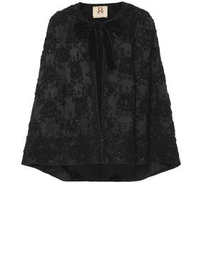 Figue Jacqueline Embroidered Silk Capelet