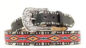 Ariat A1515401-S 1.5 in. Accessories Womens Beaded Ribbon Belt, Black - Small