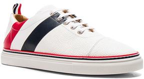 Thom Browne Pebble Grain & Calf Leather Straight Toe Cap Sneakers in White.