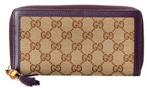 Gucci Brown Gg Supreme Canvas & Purple Leather Trim Flap Wallet. - BROWN MULTI - STYLE