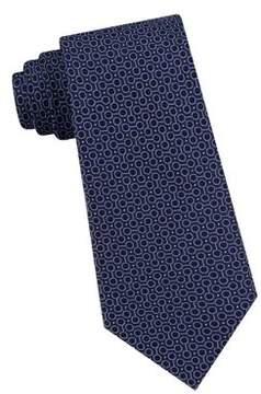 Black & Brown Black Brown Linked Circles Silk Tie