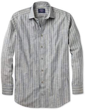 Charles Tyrwhitt Slim Fit Denim Blue Stripe Textured Cotton Casual Shirt Single Cuff Size XS
