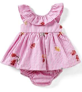 Rare Editions Baby Girls Newborn-24 Months Floral-Embroidered Gingham-Checked Fit-And-Flare Dress