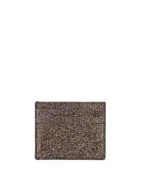 Bottega Veneta Lizard Card Case, Silver Marble
