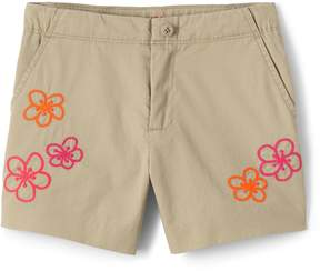 Lands' End Lands'end Girls Embroidered Chino Shorts