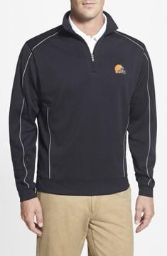 Cutter & Buck Men's Big & Tall Cleveland Browns - Edge Drytec Moisture Wicking Half Zip Pullover