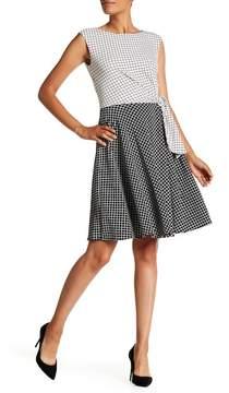 Tahari Mini Check Two Tone Dress