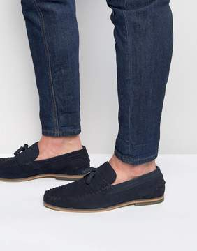 Asos Tassel Loafers In Navy Suede With Fringe And Natural Sole