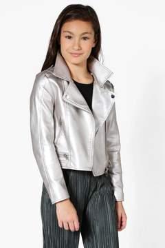 boohoo Girls Faux Leather Metallic Silver Biker Jacket