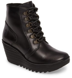 Fly London Women's Yarn Lace-Up Wedge Boot