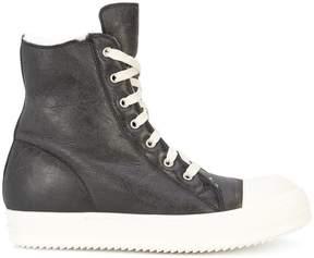 Rick Owens shearling hi-top sneakers
