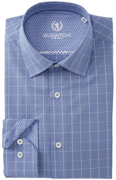 Bugatchi Grid Trim Fit Dress Shirt