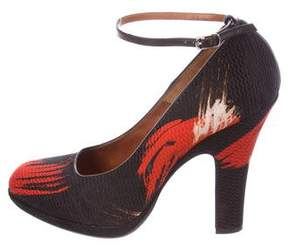 Dries Van Noten Printed Ankle Strap Pumps