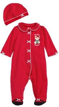 Little Me Infant Girl's Holiday Bear Footie & Hat Set