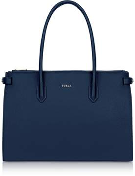 Furla Blue Leather Pin Medium E/W Tote Bag