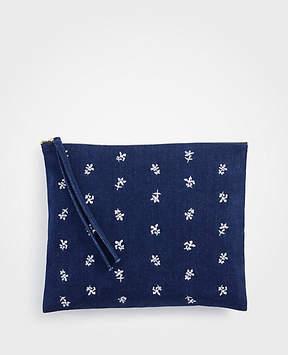 Ann Taylor Floral Embroidered Denim Zip Pouch