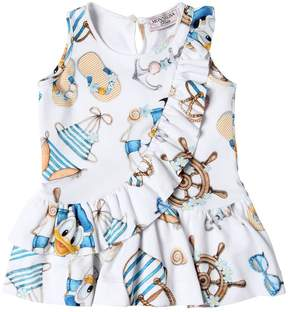 MonnaLisa Donald Duck Print Cotton Interlock Dress