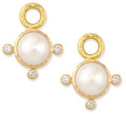 Elizabeth Locke 8mm White Akoya Pearl Earring Pendants
