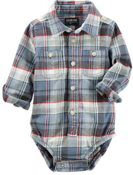 Osh Kosh Baby Boy Plaid Flannel Bodysuit