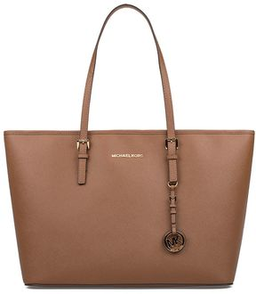 Michael Kors Brown Medium Jet Set Travel Saffiano Leather Tote - BROWN - STYLE