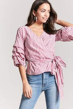 Forever 21 Stripe Tiered Sleeve Wrap Top