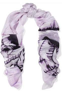 Roberto Cavalli Lace-Paneled Printed Silk Scarf