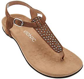 Vionic Orthotic Suede Embellished T-Strap Sandals - Tula