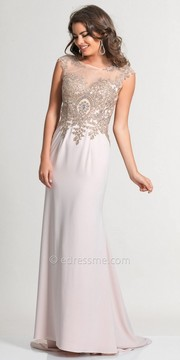 Dave and Johnny Embellished Lace Illusion Prom Dress