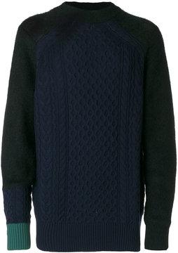 Sacai colour block cable knit sweater