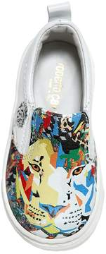 Roberto Cavalli Lion Nappa Leather Slip-On Sneakers