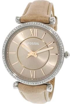 Fossil Women's Carlie ES4343 Silver Leather Japanese Quartz Fashion Watch