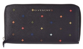 Givenchy Cross Embellished Zip Around Canvas Wallet.
