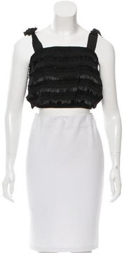 Behnaz Sarafpour Fringe-Accented Cropped Top w/ Tags