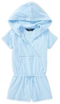 Polo Ralph Lauren Girls' Hooded Terry Cover-Up - Little Kid