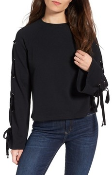 BP Women's Lace-Up Sleeve Pullover
